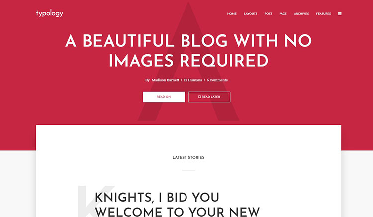 typology blog theme
